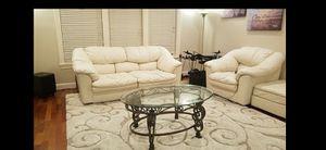 off-white Leather couch three pieces for Sale in La Center, WA