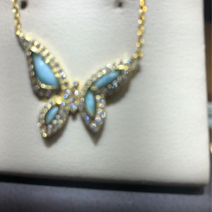 925 Yellow sterling silver beautiful butterfly necklace for Sale in Houston, TX