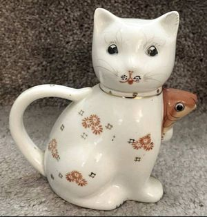 Vintage Kitty Cat With Goldfish Koi Milk Cream Pitcher Teapot China Ceramic Porcelain Gold Trimming And Orange Flowers Figurine for Sale in Chapel Hill, NC