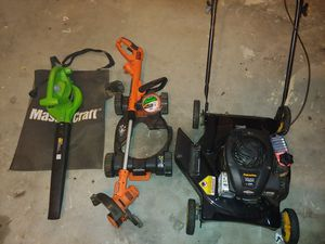Lawn mower, 3-in-1 string trimmer, leaf blower, water hose. for Sale in Douglasville, GA
