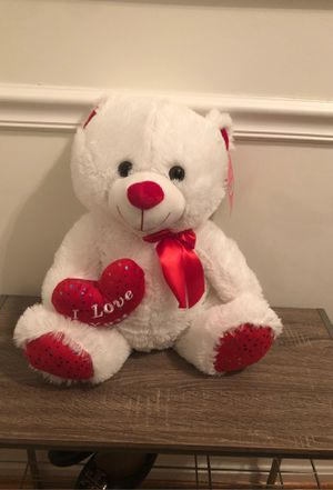 Teddy bear white and red for Sale in Odenton, MD