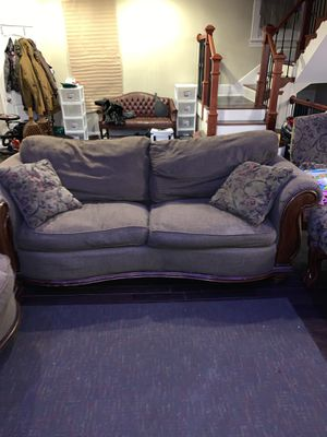 Living room set: couch, love seat and single chair with ottoman for Sale in Baltimore, MD