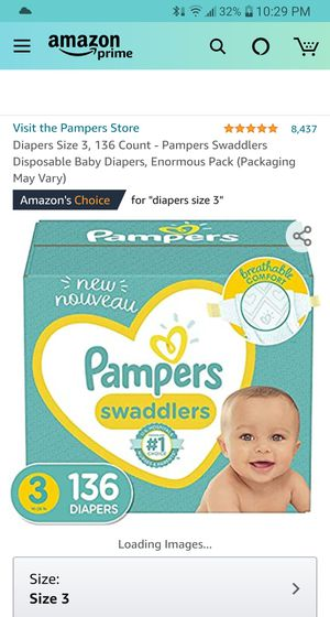 Pampers swaddlers size 3 136 count (1 in stock) Section Front Display for Sale in Phoenix, AZ
