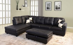 Black sectional couch with ottoman for Sale in Alameda, CA