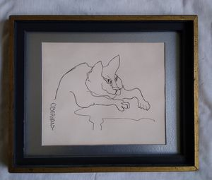 A vintage Mid-century Modern Line Drawing Cat by California Artist Patricia Oberhaus for Sale in Tacoma, WA