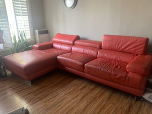 Red leather sectional sofa for Sale in Los Angeles, CA
