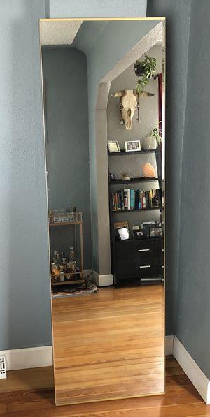 Large floor mirror in gold frame! for Sale in Denver, CO