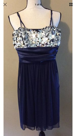 Speechless Dark Blue Silver Sequin Party Cocktail Evening Prom Mini Dress Sz S for Sale in Portland, OR