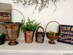 4 vintage brass & copper indoor plant pots for Sale in American Fork, UT