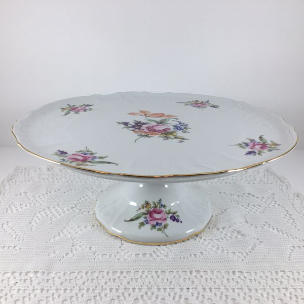 "Vintage BERNADOTTE Porcelain Tart Cake Platter Czech Republic ""HUGE SALE"""