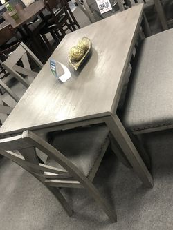 6PC Gray Dining Table Set W/ Bench 🔥 Same Day Delivery 🚚 for Sale in Fresno,  CA