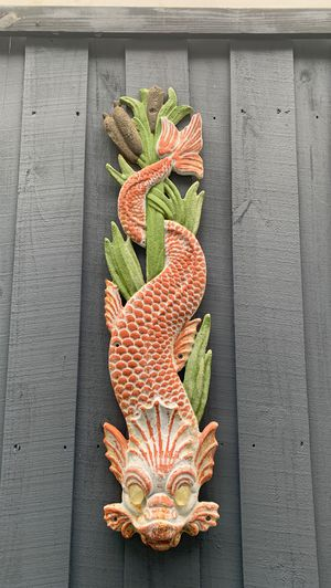 Metal iron steel Asian zen goldfish dragon fountain head for Sale in Oakland Park, FL