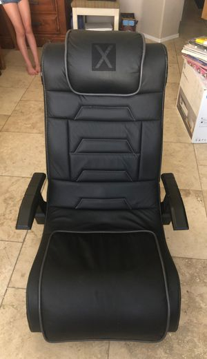 X Rocker Pro Series H3 Black Leather Vibrating Floor Video Gaming Chair with Headrest for Adult, Teen, and Kid Gamers - 4.1 High Tech Audio and Wirel for Sale in Chandler, AZ