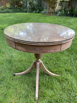 Farmhouse Glass Top Antique Drum Table for Sale in Portland, OR