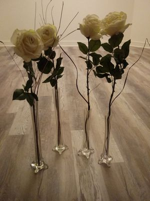 7 crystal single stem vases with artificial garden rose and soft petal flowers for Sale in Taunton, MA