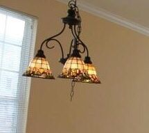 Stained Glass/Rod Iron 3-light chandelier for Sale in South Riding, VA