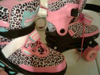 Girls Pink Leopard Skates Size 4 for Sale in Florence,  KY
