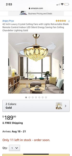 Luxury ceiling fan and lamp for Sale in Passaic, NJ