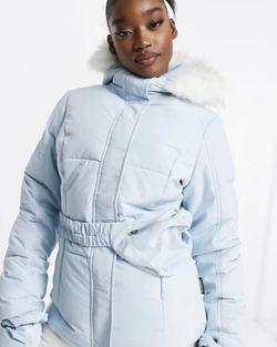 Missguided Ski jacket with matching pants, mittens and fanny pack in blue for Sale in West Palm Beach,  FL