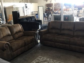 Beautiful Brown Reclining Love Seat And Sofa Set!! Take It Home Today!! $49 Down!! for Sale in Dallas,  TX