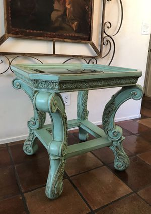 Gorgeous Heavy Faded Turquoise End Table Nightstand for Sale in Phoenix, AZ