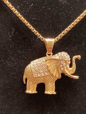 Gold stainless steel elephant pendant with chain for Sale in Fayetteville, GA