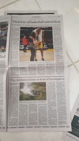 KOBE BRYANT LOS ANGELES TIMES AND USA TODAY / ORIGINAL PRINTS JAN 27, 2020 for Sale in Stanton, CA