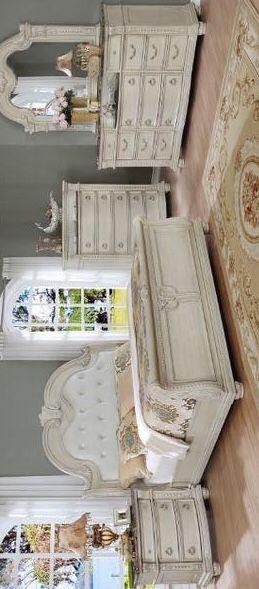 [SPECIAL] Stanley Antique White Sleigh Bedroom Set. Dresser Mirror Nightstand bed frame queen 4 piece for Sale in Houston, TX