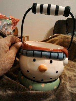 Snowman candy dish or planter for Sale in San Antonio, TX