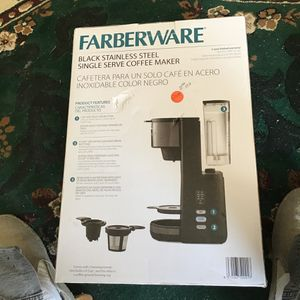 Farberware Black Stainless Single Serve Coffiee Maker for Sale in Bakersfield, CA