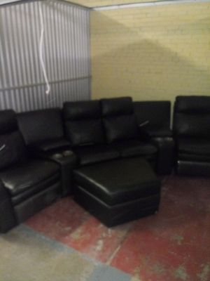 Black Leather Sectional Couch for Sale in Raleigh, NC