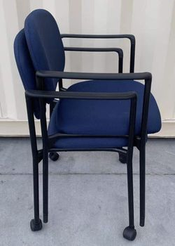 NEW $30 each HON HVL616 Stacking Guest Arm Chair 23x21x33 Inch Tall Fabric Cushion Stackable Office Restaurant Dining Chair Navy Seat removable wheel for Sale in San Dimas,  CA
