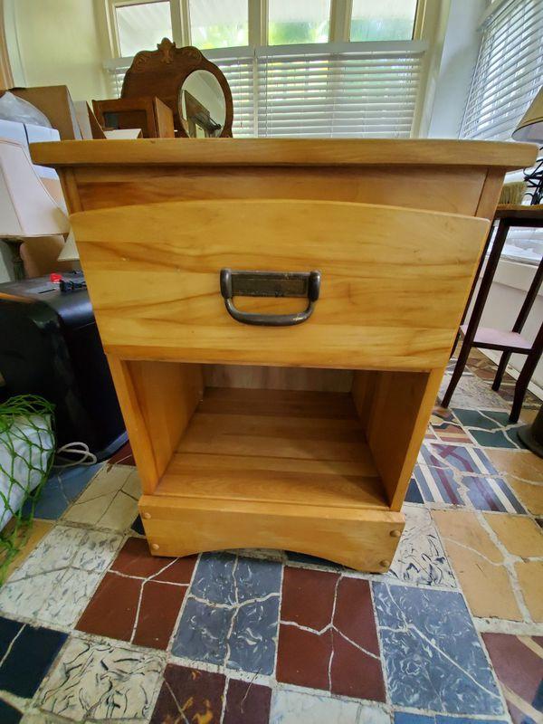 Light wood bedside table