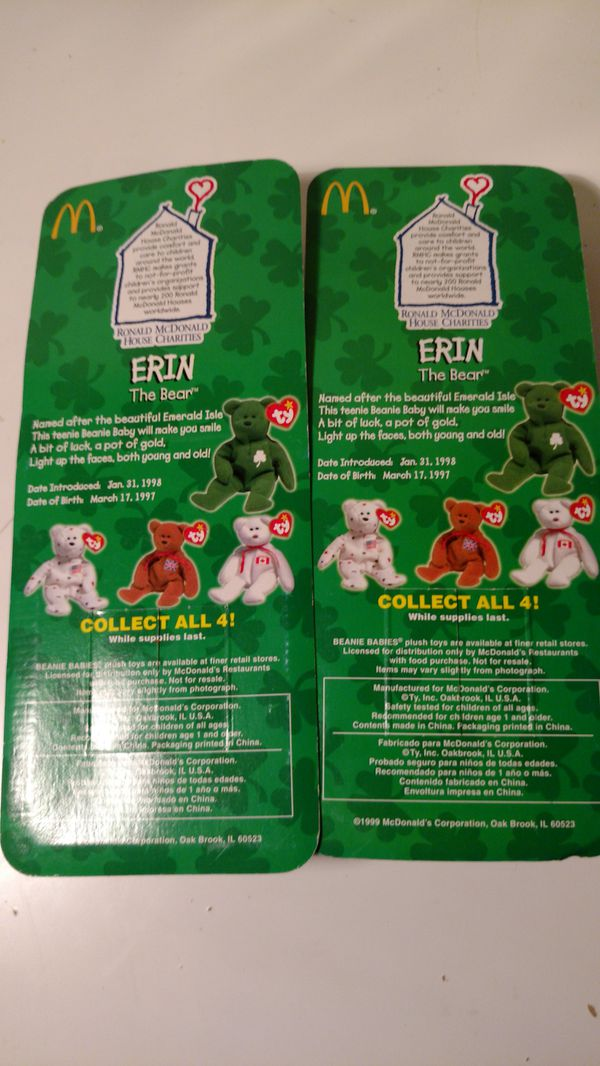 Two highly collectible McDonald's ty beanie babies Erin