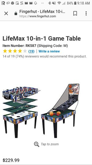 10 in 1 game table pool, air hockey, foosball, etc. for Sale in Lowell, MA