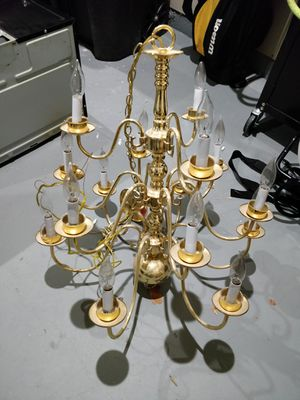 Polished Brass 3 Tier 15 Light Chandelier  with Bulbs for Sale in Fort Washington, MD