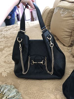 Authentic black Gucci Guccissima boho bag for Sale in Gaithersburg, MD