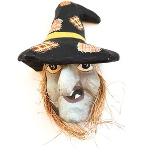 Vintage 1950's Halloween Paper Mache Decoration Large WITCH FACE Mask for Sale in Rancho Cucamonga, CA