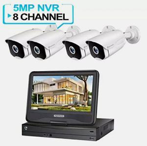 HeimVision 5MP PoE Security Camera System with 10 inch LCD Monitor, 8CH 4 Cams Night Vision Motion Detection CCTV 1080P HD for Sale in Clearwater, FL