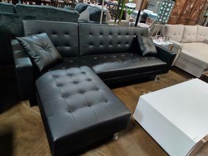 Sectional Sofa Bed, Black Leather for Sale in Santa Ana, CA