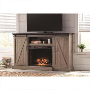Barn door Style TV stand With fireplace for Sale in Arvada, CO