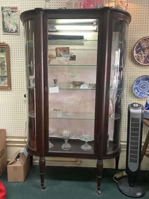 Antique Dark Stained Oak Curved Glass Curio Cabinet for Sale in Orange, CA