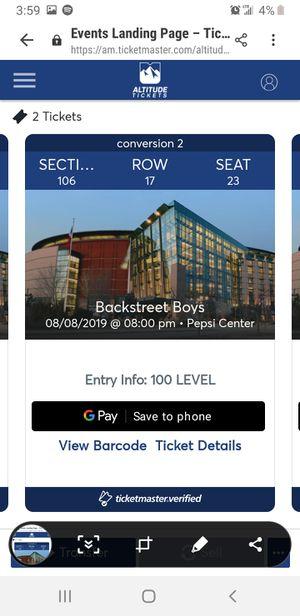 Great seats!! Backstreets boys for Sale in Littleton, CO