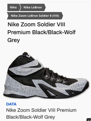 Nike LeBron Nike soldier VIII premium Black/Black-Wolf Grey for Sale in Tampa, FL