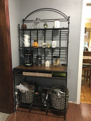 Baker's rack used as coffee station for Sale in Fairview Park, OH