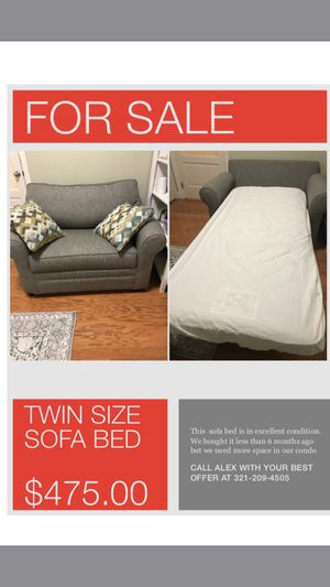 Twin size sofa bed with mattress protection for Sale in Tampa, FL