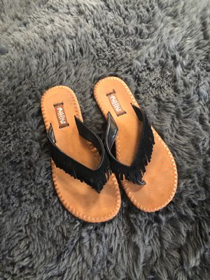 Black Suede fringe sandals size 7-8 , only $5 for Sale in Raleigh, NC