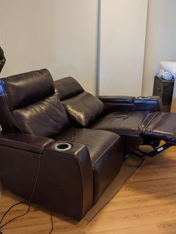 Brown Leather Reclining Loveseat for Sale in University Place,  WA