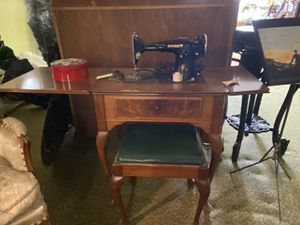 Antique/Singer Sewing Machine with cabinet and matching Bench for Sale in Claude, TX