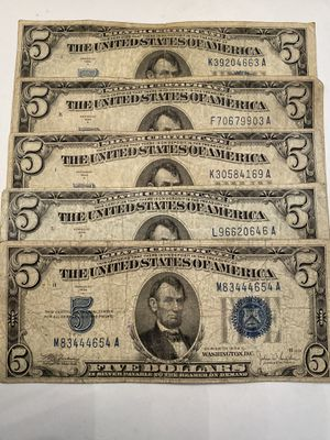 (5) - 1934 FIVE DOLLAR SILVER CERTIFICATES for Sale in Brentwood, CA
